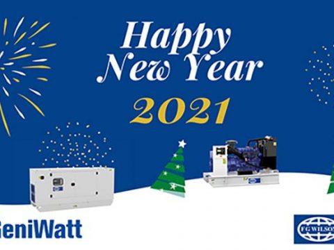 Happy New Year greeting card GeniWatt Groupe électrogène FG Wilson